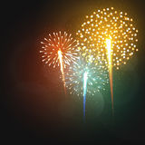 Set realistic fireworks different shapes. Colorful festive, bright firework Royalty Free Stock Photography