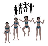 Set of realistic flat colored illustration of a jumping woman in Royalty Free Stock Photography