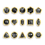 Set realistic gemstones in gold. Colorful gems - b Royalty Free Stock Image
