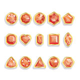 Set realistic gemstones in gold. Colorful gems - r Stock Photos