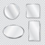 Set of realistic geometrical mirrors stock illustration