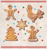 Set of realistic gingerbread cookies - rooster, star, christmas tree, man and woman. Set of realistic gingerbread cookies. Vector illustration Royalty Free Stock Image