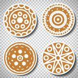 Set of realistic gingerbreads cookies. Vector isolated on transparent background. Stock Photography