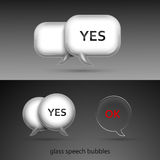 Set of realistic glass speech bubbles Royalty Free Stock Photos