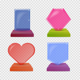 Set realistic glass trophy awards. Colorful illustration isolated for transparency background. Graphic concept for your Stock Photos