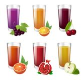 Set of realistic glasses with tasty juice on white background. royalty free illustration