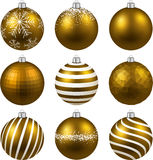 Set of realistic gold christmas balls. Stock Photo