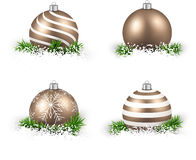 Set of realistic golden christmas balls. Royalty Free Stock Image