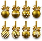 Set of realistic golden christmas balls. Royalty Free Stock Photos