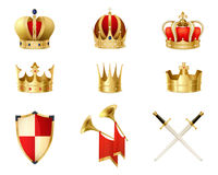 Set Of Realistic Golden Royal Crowns. Decorated with precious stones heraldic shield and crossed swords isolated vector illustration Royalty Free Stock Photo