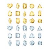 Vector realistic golden and silver white gems and jewels on white background. Gold shiny diamonds with different cuts.