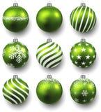 Set of realistic green christmas balls. Stock Photo