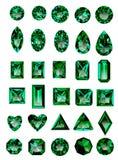 Set of realistic green emeralds Stock Photo