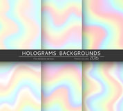 Set 6 realistic holographic backgrounds in different colors for design Stock Photos