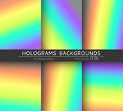 Set 6 realistic holographic backgrounds in different colors for design Royalty Free Stock Photo