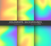 Set 6 realistic holographic backgrounds in different colors for design Stock Photo