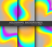 Set 6 realistic holographic backgrounds in different colors for design Royalty Free Stock Images