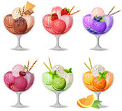 Set of realistic  icecreams on white Stock Image