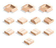 Set of 12 realistic isometric cardboard boxes with texture. Realistic boxes in an isometric style of design. Industrial box. Boxes for delivery by mail Stock Photos