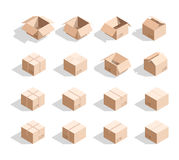 Set of 16 realistic isometric cardboard boxes with texture. Realistic boxes in an isometric style of design. Industrial box. Boxes for delivery by mail Stock Images