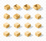 Set of 16 realistic isometric cardboard boxes with transparent shadow. Realistic boxes in an isometric style of design. Industrial box. Boxes for delivery by Stock Image
