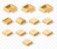 Set of 12 realistic isometric cardboard boxes with transparent shadow. Realistic boxes in an isometric style of design. Industrial box. Boxes for delivery by Royalty Free Stock Photography