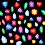 Set of realistic jewels. Colorful gemstones. Raster gemstone Illustration. On black background vector illustration