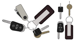 Set of realistic keys icons. Color. Set of realistic keys icons: remote car starter, usb flash drive, leather trinket, group of house keys. Color illustration Royalty Free Stock Images