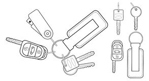 Set of realistic keys icons. Contour. Set of realistic keys icons: remote car starter, usb flash drive, leather trinket, group of house keys. Contour lines Stock Photography