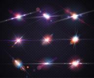 Set realistic light glare, highlight. Lighting effects, flash Stock Photo