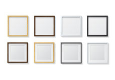 Set of Realistic Light Wood Blank Picture Frames and Dark Wood B Royalty Free Stock Images