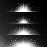Set realistic lighting effects. Glowing star. Light and glitter on a transparent background. Shining border magical. White balls. Vector illustration Stock Photos