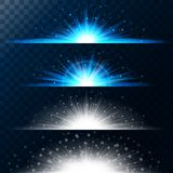 Set realistic lighting effects. Glowing star. Light and glitter on a transparent background. Shining magical border of yellow ball. S. Vector illustration Stock Image