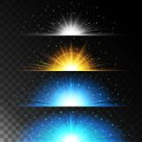 Set realistic lighting effects. Glowing star. Light and glitter on a transparent background. Shining magical border of yellow ball. S. Vector illustration Stock Photos