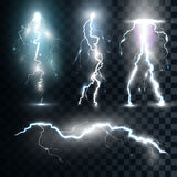 Set  realistic lightnings with transparency for design Royalty Free Stock Photos