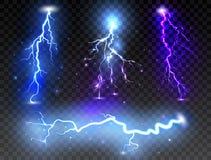 Set of realistic lightnings on transparent background. Thunder-storm and thunderbolt for design. Vector illustration.  stock illustration