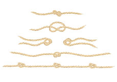A set of realistic  linen string knots Stock Image