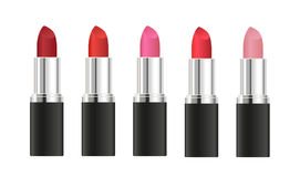 Set of  realistic lipsticks with different shades isolated. On white background Royalty Free Stock Image