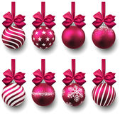 Set of realistic magenta christmas balls. Royalty Free Stock Image