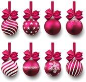 Set of realistic magenta christmas balls. Royalty Free Stock Image