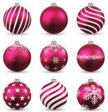 Set of realistic magenta christmas balls. Stock Images
