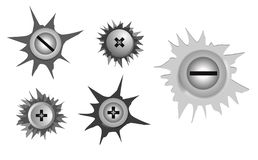 Set of realistic metal screw stainless, with crack effect. Easy to modify royalty free illustration