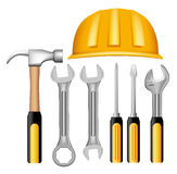 Set of Realistic Metallic Maintenance Tools Royalty Free Stock Image