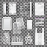Set of realistic mock up of plastic food containers, packaging. Set of realistic mock up of empty plastic food containers, packaging for food, film for food vector illustration