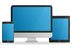 Set realistic monitor, tablet and smartphone with blue screens. Set  realistic monitor, tablet and smartphone with blue screens Royalty Free Stock Image