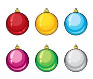 A set of realistic multicolored Christmas balls. Vector illustration. Isolated objects on white background for design. Stock Photography