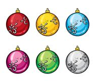 A set of realistic multicolored Christmas balls. Vector illustration. Isolated objects on white background for design. Stock Image