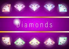 Set Realistic multicolored Diamonds. Closeup for decorative design. Gems and jewels on purple background. Multicolor shiny gemstone with cuts.  Colorful vector royalty free illustration