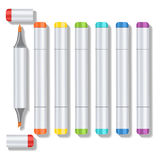 Set realistic multicolored professional art marker with two tips and removable caps. Markers of all colors of the Stock Photos