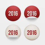 Set of realistic New Year white circle Stickers. Set of four realistic New Year white and red circle Stickers with 2016 Text isolated on white Background. Vector Royalty Free Stock Photo